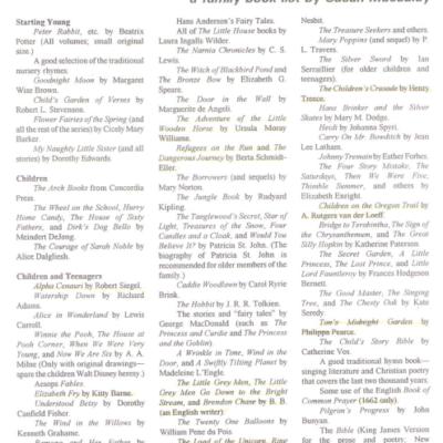 A Family Book List by Susan Schaeffer Macaulay